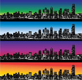 City skyline vector set — Stock Vector