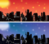 City skyline vector set — Vettoriale Stock