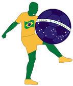 Brasil fotbollspelare — Stockvektor