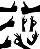 Hands silhouette vector set — Stock Vector