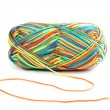 Skein of multicolored threads isolated on white — Stock Photo