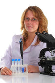 Student in glasses working in laboratory — Stock Photo