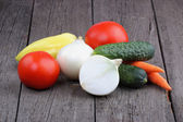 Vegetables on old wood background — Stok fotoğraf