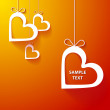 Paper heart orange background 2 — Stock Vector