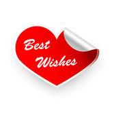Sticker Valentines heart best wishes — Stock Vector