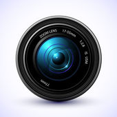 Camera photo lens with flare. — Stock Vector