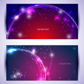 Set of two banners, abstract headers with golden sparkles — Stock Vector