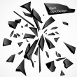 Broken Glass Black Vector Drawing — Stock Vector