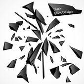 Desenho vetorial de cacos de vidro preto — Vetor de Stock