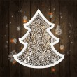 Christmas tree. Vector Illustration on wooden texture — Stock Vector