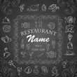 Retro vintage restaurant menu. Set of Calligraphic titles and symbols for restaurant. — Stock Vector