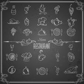 Restaurant menu design elements with chalk drawn food and drink icons on blackboard — Stock Vector