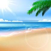 Beach and tropical sea with bright sun. EPS10 vector. — Stock Vector