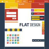 Flat Web Design, elements, buttons, icons. Templates for website. — Vettoriale Stock