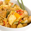 Stir-fried chinese noodles with chicken, cauliflower, pepper and — Stock Photo