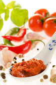 Hot chili paste in a spoon for asian recipes with the ingredient — Stock Photo