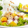 Two servings of salad with chicken, fetcheese, orange, red oni — Stock Photo #18949983