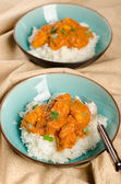Indian dish - Chicken tikka masala served with rice — Stock Photo