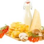 Italian pasta dish ingredients isolated on white — Stock Photo