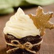 Christmas cupcake with snow flake cookie — Stock Photo