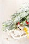 Christmas concept composition with sledge — Stok fotoğraf