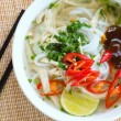 Asian chicken rice noodle soup — Stock Photo