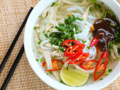 Asian chicken rice noodle soup — ストック写真