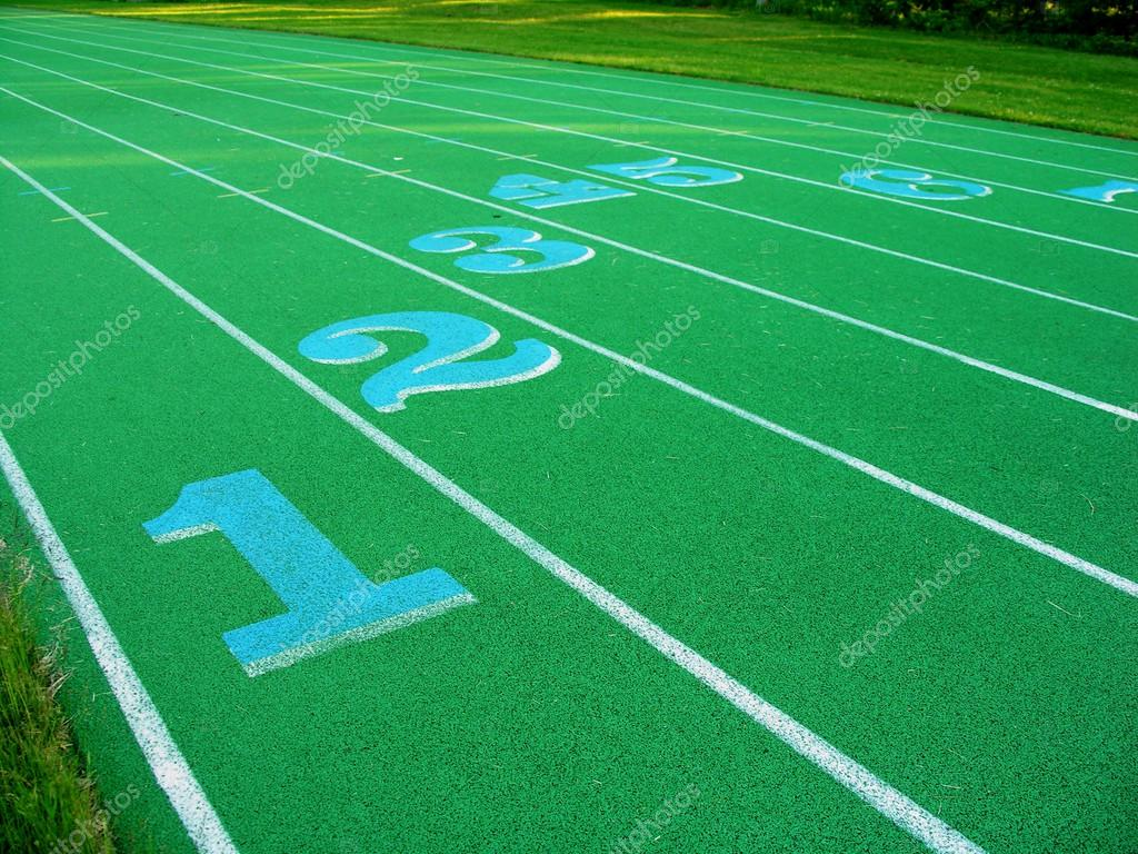 Blue numbered lanes on a green