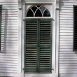 Stock Photo: Vintage front door with shutters