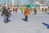 A woman ice skating — 图库照片