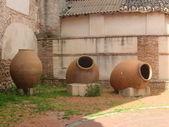 Three large earthenware jars. — Stock Photo