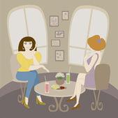Women talking in cafe. — Stock Vector
