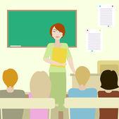 4 students listening to a teacher — Vetor de Stock