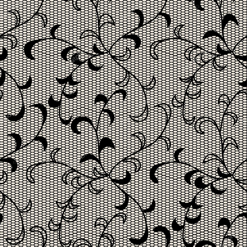 Black lace seamless pattern. Objects grouped and named in English. No mesh, gradient, transparency used.   Stock Vector #13897758