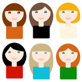 6 girls — Stock Vector