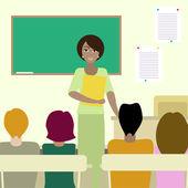 4 estudiantes escuchando a un maestro — Vector de stock