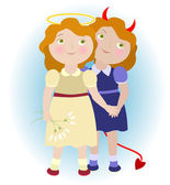 2 cartoon girls - devil and angel — Stock Vector