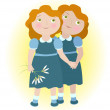 Stock Vector: Twin girls holding hands illustrate zodiac sign Gemini.