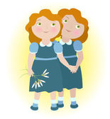Twin girls holding hands illustrate zodiac sign Gemini. — Vector de stock