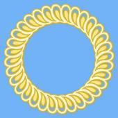 Tondo telaio retrò dorata su sfondo blu. — Vettoriale Stock