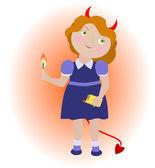 мультфильм девушка дьявол с матчей. — Cтоковый вектор