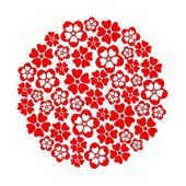 Red paper cut flowers circle on white background. — Stock Vector