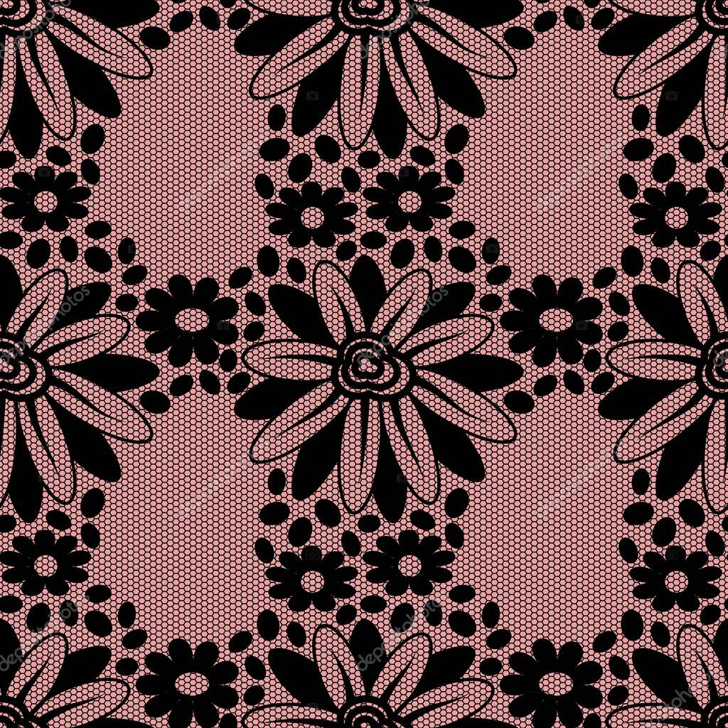 Black flower lace on pink background. — Vector stock ...