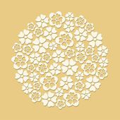 White paper cut flowers circle on beige background — Stock Vector
