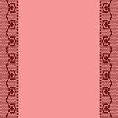 与两个垂直花边丝带的粉红色背景. — 图库矢量图片
