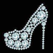 Sapato de salto alto feito de diamantes. — Vetorial Stock