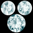 Three round diamond cuts. — Stock Vector