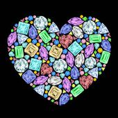 Heart made of different gemstones. — Stock Vector