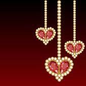Three jewelry hearts — Stock Vector