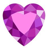 Pink gemstone heart. — Stock Vector